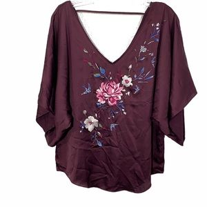 WHBM Burgundy Satin Floral Embroidered Top Size S